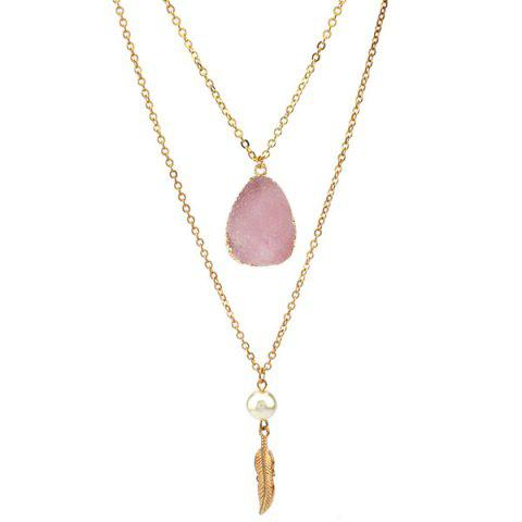 Double Layered Faux Crystal Teardrop Feather Pendant Necklace - LIGHT PINK