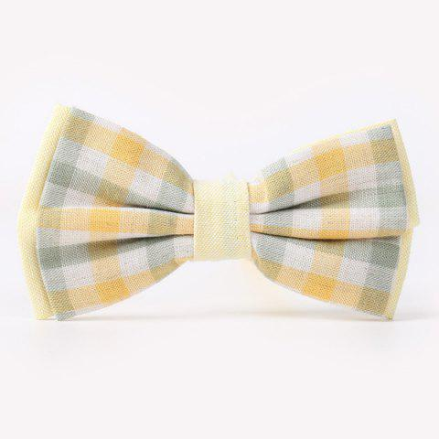 Stylish Tartan Pattern Banquet Wedding Party Double-Deck Bow Tie - LIGHT YELLOW
