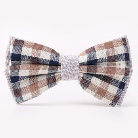 Stylish Tartan Pattern Banquet Wedding Party Double-Deck Bow Tie - DEEP GRAY