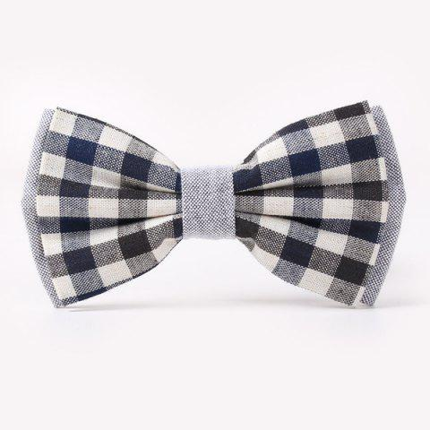 Stylish Tartan Pattern Banquet Wedding Party Double-Deck Bow Tie - BLACK