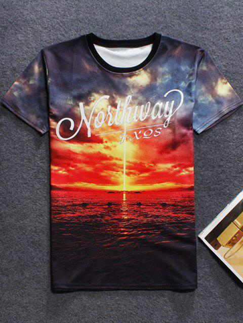 Sunset 3D Printed Crew Neck T-Shirt - RED S