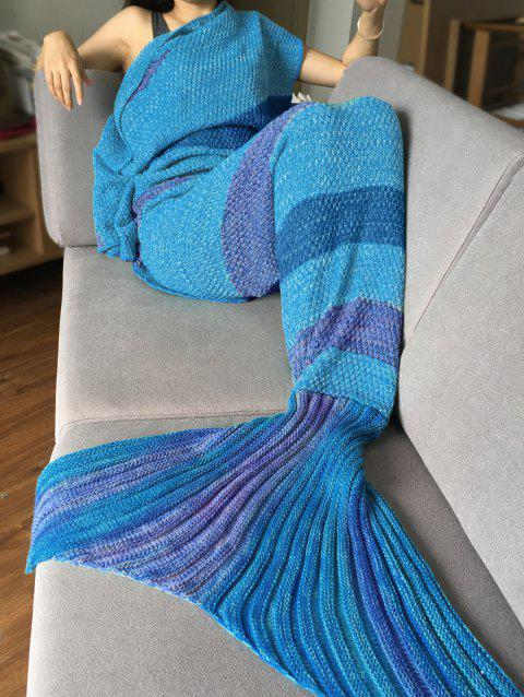 Crochet Stripe Pattern Mermaid Tail Shape Bedding Blanket - BLUE / PURPLE