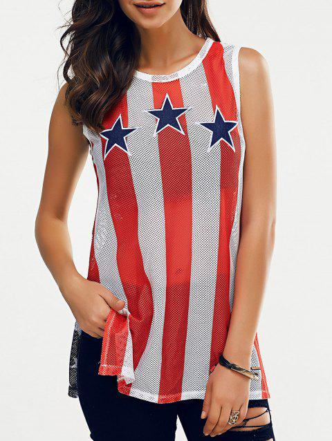 Fashionable Woman's Round Collar Elasticated Net Star Stripe Printing Tank Top - BLACK/WHITE/RED S