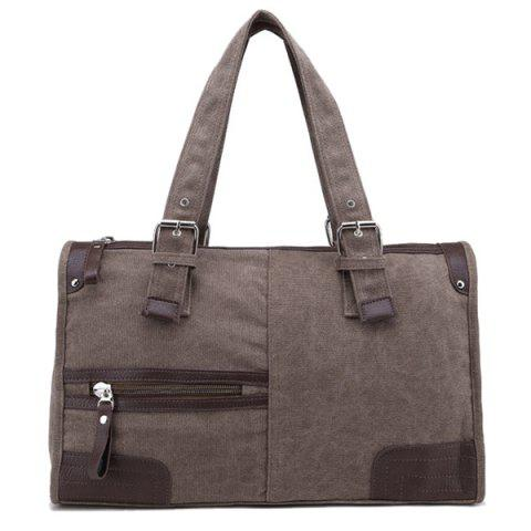 Leisure Canvas and Zip Design Men's Tote Bag - COFFEE
