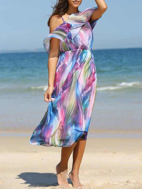 Cold Shoulder Colorful Robe en mousseline Flouncing - Bleu M