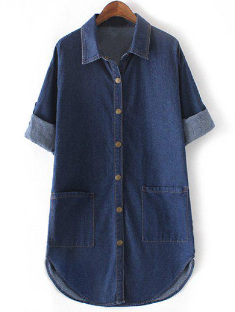 e38d8869f3 LIMITED OFFER  2019 Brief Plus Size Double Pockets Denim Shirt In ...