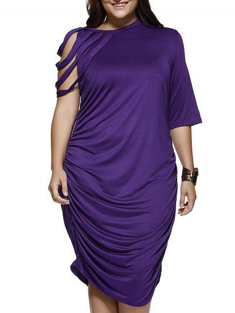 38981eac4b2f 41% OFF  2019 Elegant Strappy Sleeve Pure Color Baggy Dress In ...