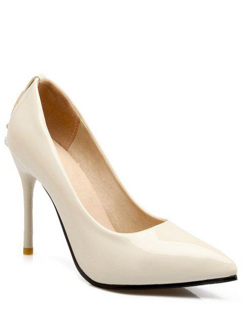 Graceful Metal and Rhinestones Design Women's Pumps - OFF WHITE 37