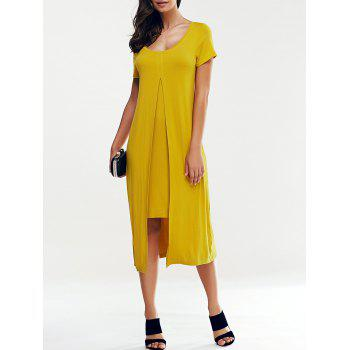 Elegant Women's Scoop Collar Short Sleeve False Bifurcate Dress