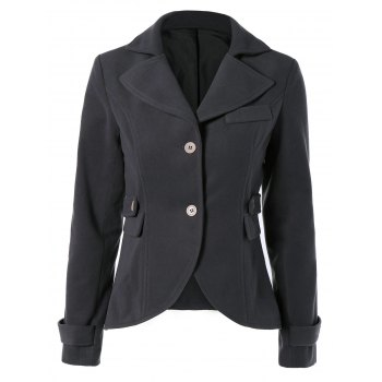 Chic Lapel Buttoned Elbow Faux Leather Spliced Swallow-Tailed Jacket For Women