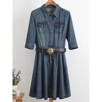 Plus Size Ladylike Draped Denim Shirt Dress