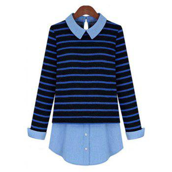 Stylish Striped Patchwork Shirt For Women - BLUE AND BLACK BLUE/BLACK