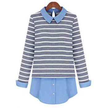 Stylish Striped Patchwork Shirt For Women - GREY AND WHITE GREY/WHITE