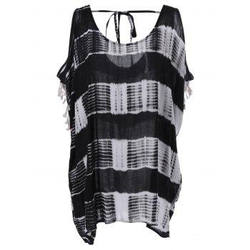 Buy Loose-Fitting Striped Tie-Dyed Tassel Cold Shoulder Blouse Women WHITE/BLACK