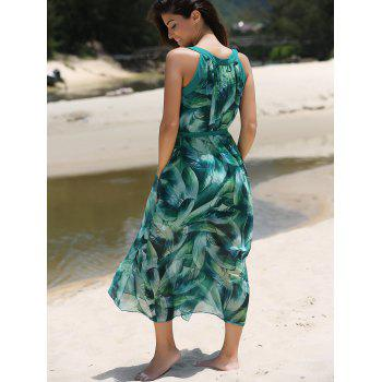 Asymmetric Feather Pattern Belted Dress - GREEN M