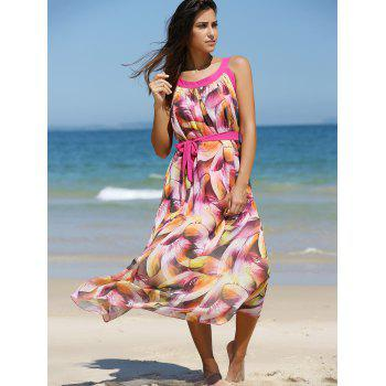 Asymmetric Feather Pattern Belted Dress - ROSE RED M