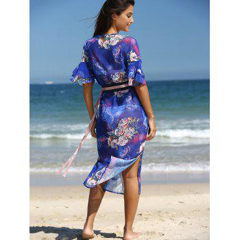 Stunning Flare Sleeve Belted Floral Dress - BLUE 2XL