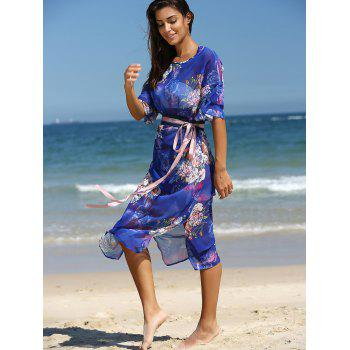 Stunning Flare Sleeve Belted Floral Dress - BLUE XL