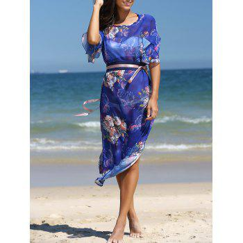 Stunning Flare Sleeve Belted Floral Dress