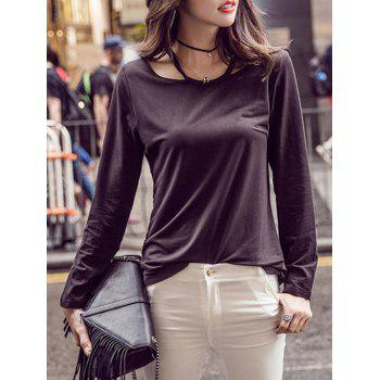 Long Sleeve Cut Out Pure Color T-Shirt
