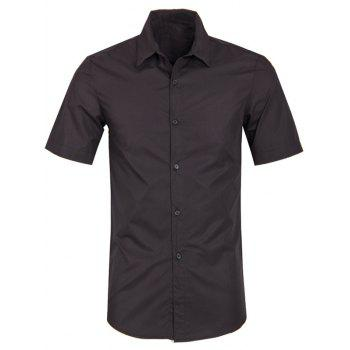 Solid Color Turn Down Collar Men's Short Sleeve Shirt