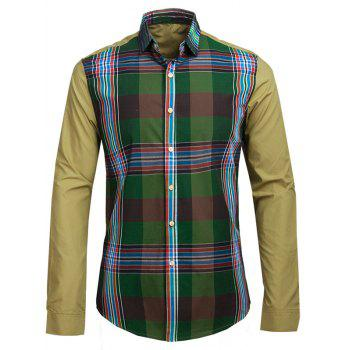 Plaid Print Spliced Turn-down Collar Long Sleeve Men's Shirt