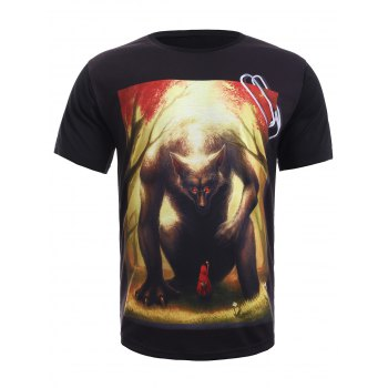 Buy Round Neck 3D Red Riding Hood Print Short Sleeve Men's T-Shirt