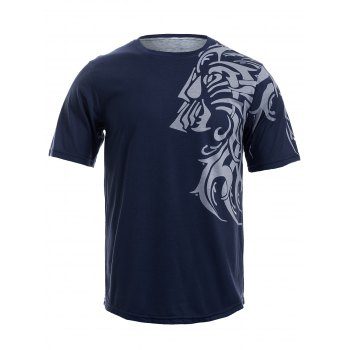 Round Neck Tattoo Style Tiger Print Short Sleeve Men's T-Shirt