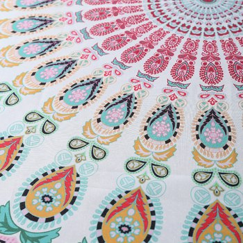 Cool Summer Chiffon Mandala Yoga Mat Gypsy Cotton Tablecloth Round Beach Throw Shawl Wrap Scarf - WHITE