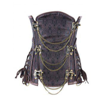 Vintage Metallic Jacquard Corset For Women