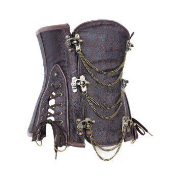Vintage Metallic Jacquard Corset For Women - BROWN M
