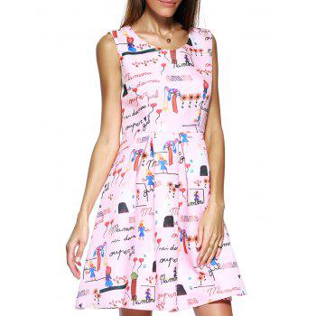 Endearing Scoop Neck Printed Pleated Dress For Women