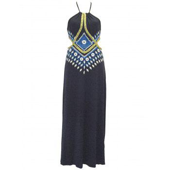 Cut Out Print Maxi Halter Dress