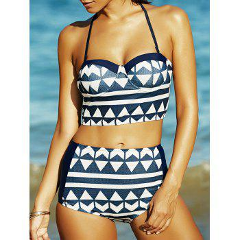 High Waist Geometric Print Bikini Set