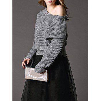 Pure Color Off The Shoulder Pullover Sweater