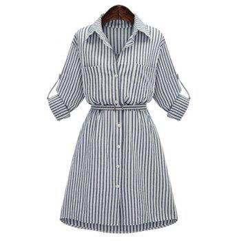 Slimming Striped Belted Plus Size Shirt Dress