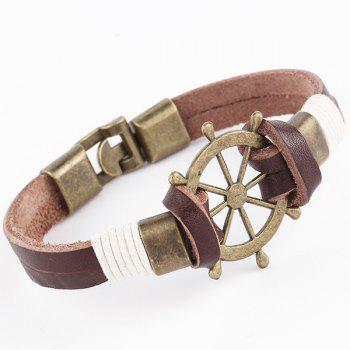 Rudder Faux Leather Layered Bracelet - BROWN