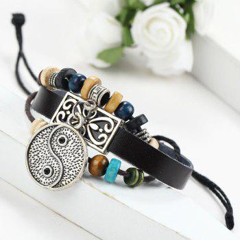 Trendy Faux Leather Tai Ji Bracelet For Men