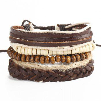 Beaded Faux Leather Layered Bracelets