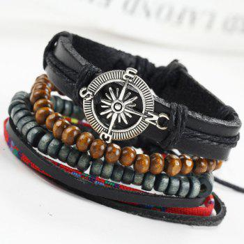 Punk Compass Layered Wrap Bracelets - RED