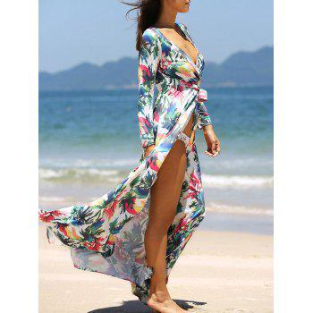 Long Sleeve Bohemian Long Floral Beach Wrap Dress