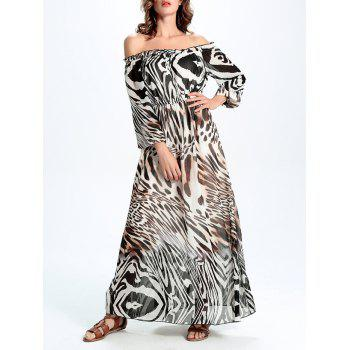 Off-The-Shoulder Leopard Chifon Dress