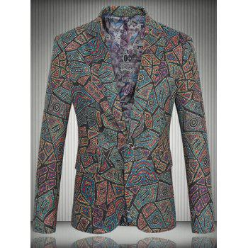 Pattern Tweed One-Button Lapel Men's Long Sleeve Blazer