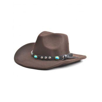 Western Style Faux Gem Rivet Belt Faux Suede Women's Cowboy Hat