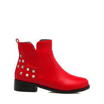 Trendy Zipper and Metal Rivets Design Women's Ankle Boots - RED 37