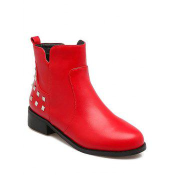 Trendy Zipper and Metal Rivets Design Women's Ankle Boots