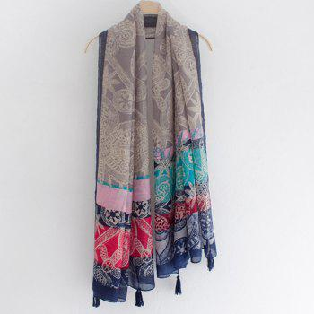 Casual Style Tribal Doodle Pattern Tassel Pendant Women's Voile Scarf