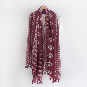 Ethnic Style Arab Printed Tassel Pendant Women's Voile Scarf