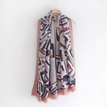 Mordern Style Twill Geometry Pattern Fringed Women's Voile Scarf