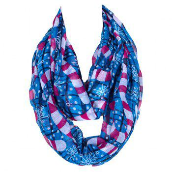 Winter Style Christmas Snowflake Walking Stick Pattern Women's Voile Scarf